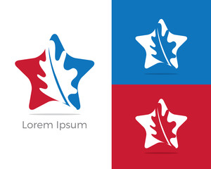 Health and care logo design, pharmacy icon, oak leaf in star vector illustration, leaf icon.