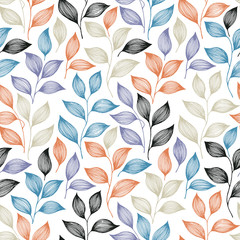 Wrapping tea leaves pattern seamless vector illustration.