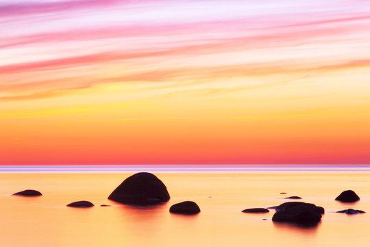 Tropical sunset. Sunset seascape