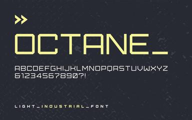 Vector light industrial style display font, modern blocky typefa Wall mural
