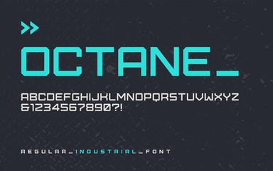 Vector regular industrial style display font, modern blocky type