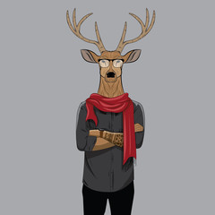 Hipster deer with glasses and scarf. Anthropomorphic illustration, fashion animals