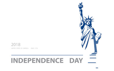 Independence Day, USA. Poster. Blue Linear Picture. Statue of Liberty, book.2018. Symbol of America. Illustration, white,background. Use presentations,corporate reports, text, stripes,postcards,vector