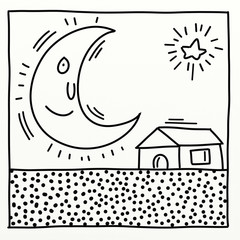 an animated moon stylized comic book style humorist drawings