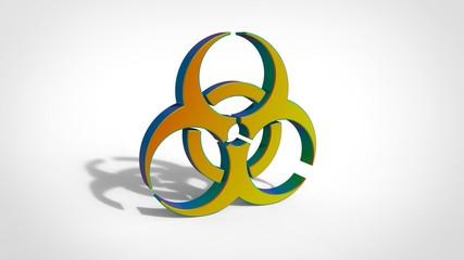 3d green yellow biohazard sign