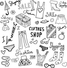 Vector Doodle signs and symbols on the theme of shopping and sales.