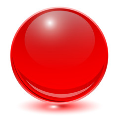 Glass sphere red vector ball.