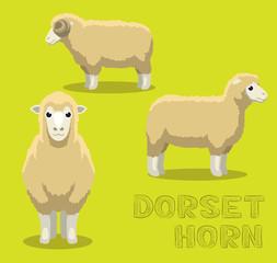 Sheep Dorset Horn Cartoon Vector Illustration