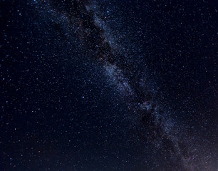 Milky Way Galaxy with stars and space dusts. soft focus and noise due to long expose and high iso.
