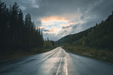 Norway Landscape with empty road
