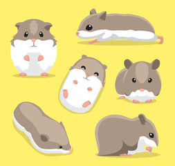 Cute Hamster Poses Cartoon Vector Illustration