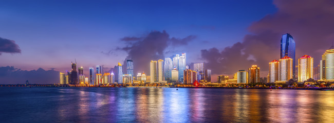 The night scene of modern urban architectural landscape in Qingdao, China