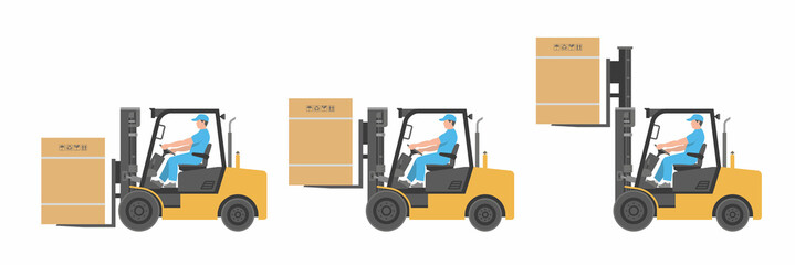 Man driving a forklift. flat style. isolated on white background