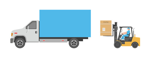Forklift and truck. flat style. isolated on white background
