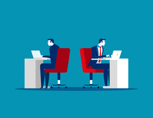 Rear and front view, Business people working on office. Concept business vector illustration.