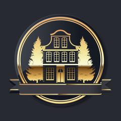 goldenes luxus immobilien vektor logo mit banderole