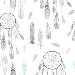 Dream catcher and feathers. Vector seamless pattern