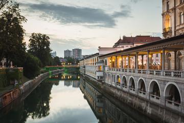Lublanica river in Ljubljana, Slovenia