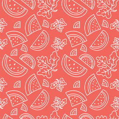 Watermelon seamless pattern. Hand drawn fresh tropical berry. Vector sketch background. Color doodle wallpaper. Red and white print