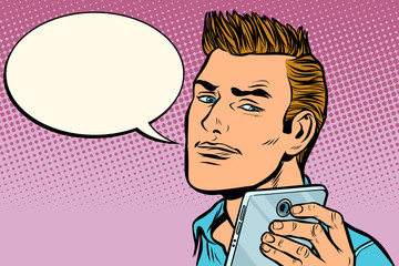 man selfie smartphone, says