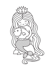 Princess mermaid with big fish, sitting on a rock. Cute cartoon character. Vector illustration for coloring book.