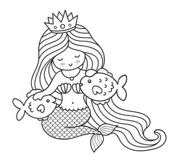 Mermaid with two big fish. Vector illustration.