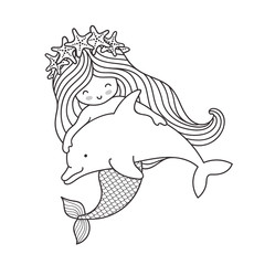 Mermaid in a wreath of starfish, floating with a dolphin. Vector outline illustration, sketch, doodle.