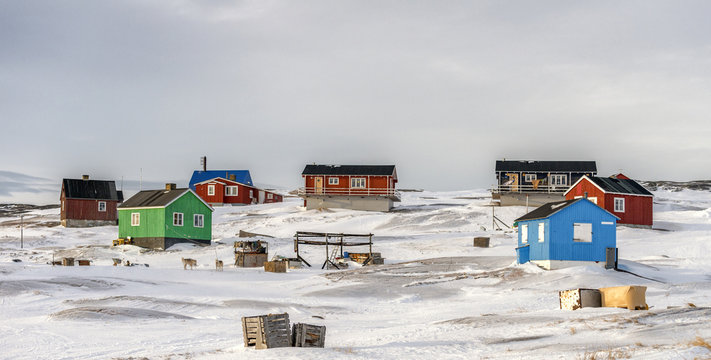 Colourful houses in the tiny inuit village of Oqaatsut in west Greenlamd