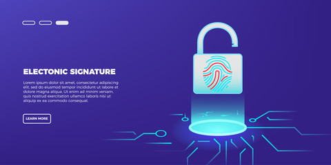 Safety, data security and deposits protection concept. The padlock with a fingerprint scanner