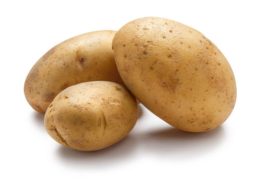 Young potatoes isolated on white background