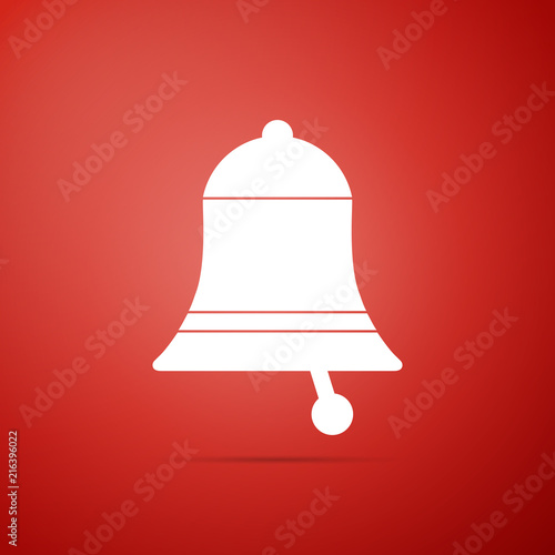Ringing bell icon isolated on red background  Alarm symbol