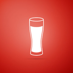 Glass of beer icon isolated on red background. Flat design. Vector Illustration