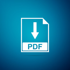PDF file document icon isolated on blue background. Download PDF button sign. Flat design. Vector Illustration