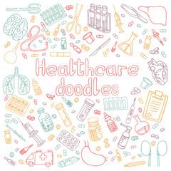 medecine doodles vector illustration
