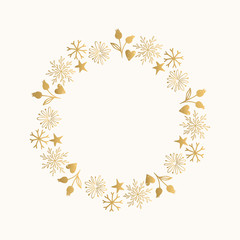 Romantic Christmas wreath with hand drawn snowflakes. Seasonal vintage design. Isolated elements.
