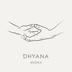 Dhyana mudra - gesture in yoga fingers. Symbol in Buddhism or Hinduism concept. Yoga technique for meditation. Promote physical and mental health. Vector illustration.