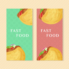 Fast food banners with falafel in pita. Graphic design elements for menu packaging, advertising, poster, brochure and background. Vector illustration for bistro, snackbar, cafe or restaurant.