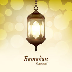Ramadan Kareem - greeting card with hanging islamic lantern on golden bokeh background for Muslim Community festival. Bright lamp. Graphic design element for invitation, flyer. Vector illustration.