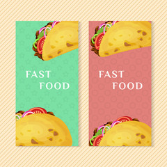 Fast food banners with taco. Graphic design elements for menu packaging, advertising, poster, brochure and background. Vector illustration for bistro, snackbar, cafe or restaurant.
