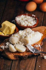 Venezuelan breakfast, dough of corn flour parboiled with butter and cheese, called bollitos