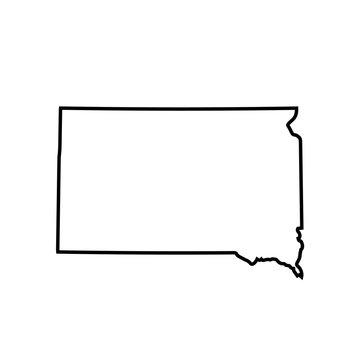 map of South Dakota. vector illustration