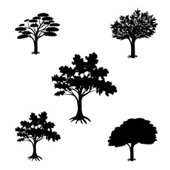 silhouette isolated green tree vector design