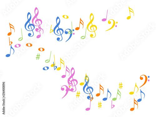 Music Notes Confetti Falling Chaos Vector  Music Symbols