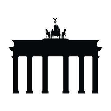 A black and white silhouette of the Brandenburg Gate