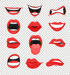 Vector illustration set of red woman lips. Mouth with a kiss, smile, tongue and many emotions mouth emoji on transparent background in flat style.