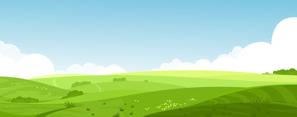 Vector illustration of beautiful summer fields landscape with a dawn, green hills, bright color blue sky, country background in flat cartoon style banner. Wall mural