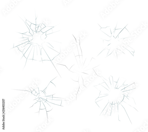 Vector illustration of cracked crushed realistic glass set on the