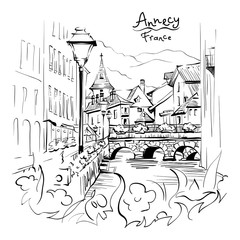 Foto op Canvas Illustratie Parijs Vector black and white drawing, city view of the Palais de l'Isle and Thiou river in old city of Annecy, Venice of the Alps, France.