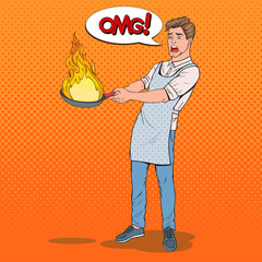 Pop Art Man in the Kitchen Holding Pan. Afraid Young Guy in Apron Cooking with Burning Pan. Vector illustration