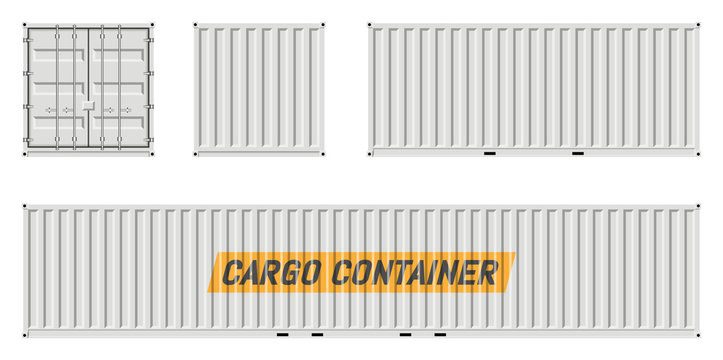 Cargo container vector mockup on white background with side, front, back view. All elements in the groups on separate layers for easy editing and recolor.